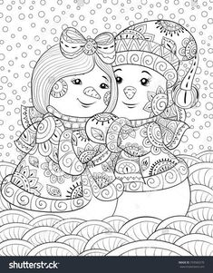 Snowman Coloring Pages for Adults New Adult Coloring Page Book A Cute Pair Of Snowmen Wearing Snowman Coloring Pages, Adult Coloring Book Pages, Printable Adult Coloring Pages, Free Coloring Pages, Coloring Books, Christmas Coloring Sheets, Silkscreen, Winter Crafts For Kids, Winter Art