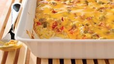 VELVEETA Cheesy Bacon Brunch Casserole - Bacon, eggs and hash browns topped with melty VELVEETA—it's everything you want for brunch in one delicious casserole.