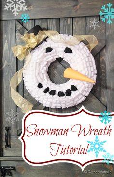Snowman Wreath Tutorial remodelaholic.com #winter #christmas #wreath #tutorial
