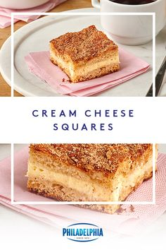 The best desserts are made with cream cheese, like these easy-to-make Cream Cheese Squares. Bring out some crescent dinner rolls, PHILADELPHIA Cream Cheese and a dash of cinnamon and you're on your way to a dessert you'll want to show off to everybody you Thanksgiving Desserts, Fall Desserts, Low Carb Desserts, Christmas Desserts, Just Desserts, Delicious Desserts, Dessert Recipes, Yummy Food, Keto Recipes