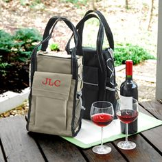 Khaki Insulated Wine Cooler Tote