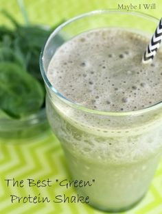 "The Best ""Green"" Protein Shake --- This shake is AMAZING!! A great way to get more veggies into your life! #greenshake #proteinshakes {www.m..."