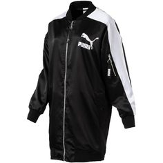 Puma Archive T7 Relaxed Bomber Jacket (375 RON) ❤ liked on Polyvore featuring outerwear, jackets, black, bomber style jacket, satin bomber jackets, satin jacket, flight jackets and puma jackets