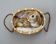 Bunnies+Painted+on+the+Rock.+Cute+Mother+and+Baby...Etsy shop...really nice painting job!