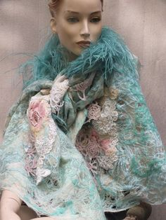 reserved for Joanne.BOUDOIR DOLL.SHAWL. unique by JARMOLOWSKA