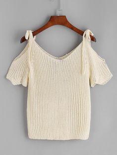 Camiseta de punto de hombros descubiertos-(Sheinside)