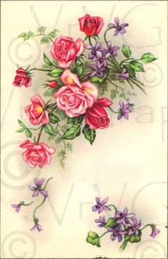 Victorian Pink Roses Purple Flowers ShaBby Vintage by VrVGraphics