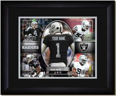 Your Name on a Raiders jersey as the #1 Draft Pick, with other football star players of your favorite NFL team, Framed Poster