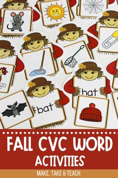 Your students will love learning to read CVC words with these fall themed CVC word activities. These CVC word activities are ideal for small group instruction or for independent centers. Fall Words, Short Vowel Activities, Hands On Activities, Cvc Words, Autumn Theme, Learn To Read, Teaching Reading, Learning, Small Groups