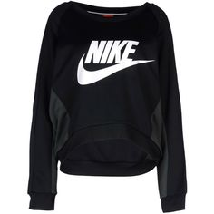 Nike Sweatshirt (€65) ❤ liked on Polyvore featuring tops, hoodies, sweatshirts, sweaters, shirts, nike, black, long sleeve polyester shirts, long sleeve shirts and wide neck sweatshirt