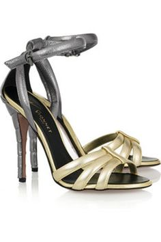 Two Tone Metallic Leather Sandals by Vionnet http://www.vogue.in/content/how-dress-sangeet#23