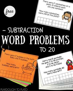 Word Problems to 20 Free Subtraction Word Problems to Great math center or subtraction activity for first grade or end of kindergarten.Free Subtraction Word Problems to Great math center or subtraction activity for first grade or end of kindergarten. Math Subtraction, Subtraction Activities, Math Activities, Numeracy, Math Fractions, Math Worksheets, Math Story Problems, Word Problems, Second Grade Math