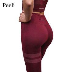 2492d4bbe4cb5 Peeli 2018 Solid Women Sporting Fitness Leggings High Waist Athleisure  Casual Pants Slim Elastic Workout Summer