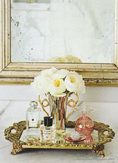 Antique mirror and tray