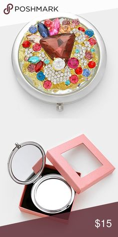 """Jeweled Compact Mirror with Gift Box • Style No : [327182] • Color : Multi  • Size : 2.75"""" W • Glass crystal & glass jeweled compact mirror with gift box Other"""