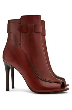 Tory Burch Saddle-Stitch Open-Toe Bootie #torybootcamp