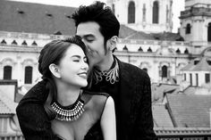 Jay Chou kisses Hannah Quinlivan affectionately in a black and white pre-wedding photo in Paris. -- PHOTO: FACEBOOK / JAY CHOU