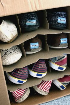 Wine box shoe storage | 40 Brilliant DIY Organization Hacks