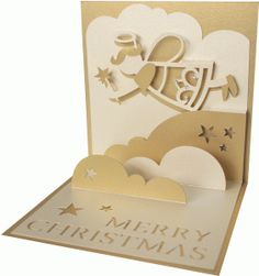 Silhouette Design Store: 5x5 angel pop up card by Daniela Angelova (Christmas card project idea)