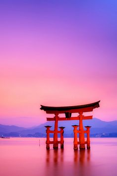 Itsukushima (Miyajima) - Torii, Japan. Add a miniature torii to the ceremony table or the main table when eating.