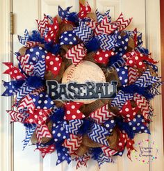 Our door is always open for Baseball Season! Cute baseball wreath with lots of ribbon ruffles Baseball Wreaths, Sports Wreaths, Baseball Crafts, Baseball Mom, Wreath Crafts, Diy Wreath, Burlap Wreath, Wreath Ideas, Wreath Making