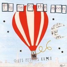 Affiche Fly me to the Moon Les Petites Kasko http://www.lespetiteskasko.com/
