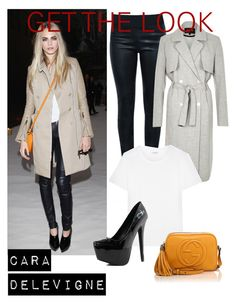 """""""Cara Delevigne:Get the Look"""" by andreastoessel ❤ liked on Polyvore featuring moda, Burberry, Moka London, River Island, Yves Saint Laurent y Gucci"""
