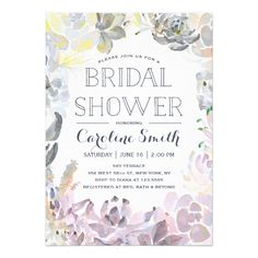 This Bridal Shower Invitation features lovely watercolored succulents and modern fonts. Send your guests an invite they won't forget! For an even more memorable invitation select a die-cut shape, textured paper or a double thick paper. Bridal Shower Cards, Bridal Shower Invitations, Bridal Showers, Brunch Invitations, Zazzle Invitations, Modern Invitations, Succulent Wedding Invitations, Invites Wedding, Wedding Cards