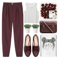 burgundy blues by evangeline-lily on Polyvore featuring Monki, Toast, Zara, The Cambridge Satchel Company, L'ATELIER d'exercices, zara and toast