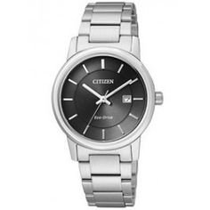 WATCH LADIES CITIZEN ECO-DRIVE ROUND BLACK DIAL, SST CASE & BRACELET, DATE W/R - Jons Family Jewellers