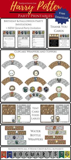 Enjoy these FREE illustrated Harry Potter Party Printables perfect for Birthdays, Halloween, Movie marathons. or just because Harry Potter parties! **Now with General Harry Potter Invitation for when you just want to have a Harry Potter Party!