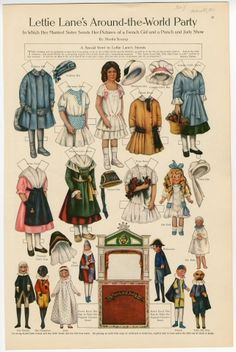 Lettie Lane's Around-the-World Party: French Girl  paper doll  1911  Artist	:  Sheila Young