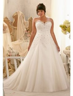 Elegant Sweetheart Organza and Lace Plus Size Wedding Dress