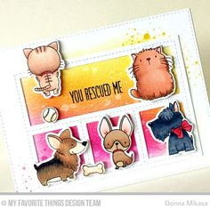 MFT Cool Cat; MFT Lucky Dog; MFT Blueprints 27; scalloped rectangle die; DIB; cute; rescue