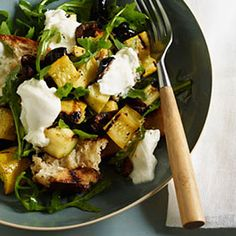Grilled Panzanella With Arugula, Burrata, Summer Squash, and Olives:  This leafy-green mix is packed with antioxidants. Olives add a dose of heart-healthy monounsaturated fat. | Health.com