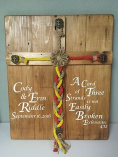 Personalized Rustic Wedding Alternative Unity idea Ceremony Cross Braided Your Colors Rope Sign Cord of Three Scripture Ecclesiastes 4:12 by DeSignsShoppe on Etsy https://www.etsy.com/listing/477316475/personalized-rustic-wedding-alternative