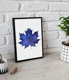 Botanical Wall Art Print - Maple Leaf - Botanical Decor - Modern Minimal Plant Blue - Printable Instant Download - Printable Leaf - Poster