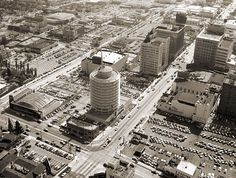 Aerial view of downtown Hollywood, 1956