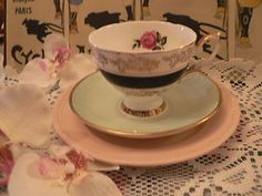 Vintage China Tea Cup Trio Dresden Crown Staffs Rose Pink Mismatch Shabby Chic | eBay