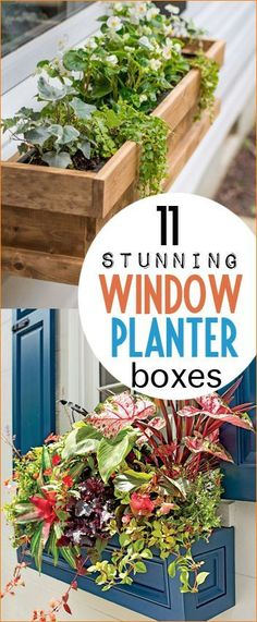 Stunning Window Planter Boxes for your Home. Beautifully planted garden boxes for your windows. Galvanized tub window boxes, wooden window boxes and rustic window boxes that are all DIY.