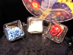 Bagues en verre à remplir selon votre goût ! 1.5 cm de côté