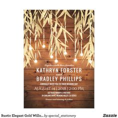 Rustic Elegant Gold Willow Tree Wedding Card Romantic country wedding invitations featuring a warm barn wood background, faux gold foil willow tree branches, twinkle string lights and modern wedding wording.