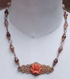 Coral Flower Necklace Vintage Assemblage Brass Peach by LilisGems, $38.00