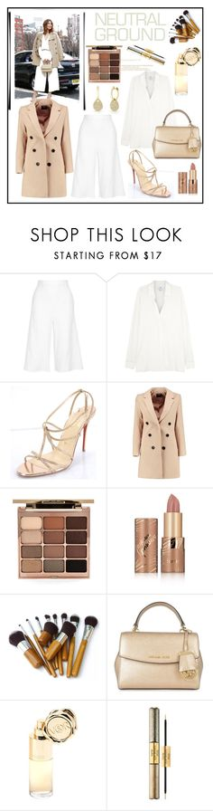 """""""Neutral"""" by anabritt ❤ liked on Polyvore featuring Miguelina, Vince, Christian Louboutin, Boohoo, Stila, tarte, MICHAEL Michael Kors, Viktor & Rolf and Anne Sisteron"""