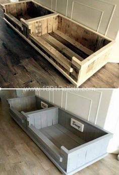 DIY Pallet Projects & Ideas   DIY Dog Bed   Amazing Do It Yourself Projects Made With Wooden Pallets   Living Room, Bedroom, Indoor and Outdoor, Kitchen, Patio. Coffee Table, Couch, Dining Tables, Shelves, Racks and Benches http://www.thrillbites.com/35-diy-pallet-projects-ideas #dogdiy