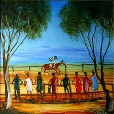 Pro Hart - Race Day c.1998 Australian Painting, Australian Artists, Paintings Famous, Australian Bush, Race Day, Various Artists, Amazing Art, Art Gallery, Illustration Art