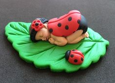 Fondant ladybug baby cake topper for Baby Shower, Birthday, Party Favor
