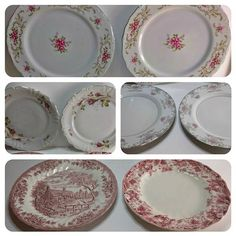 Mis-match vintage china patterned dinner plates for a farmhouse style kitchen. Love, love the strawberry one in the bottom right corner!   #chasingrelics #vintageshop #vintagelove #antiqueshop #antique #farmhousestyle #dinnerplate