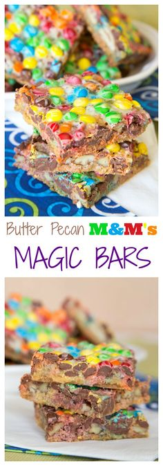 Butter Pecan M&M's Magic Bars - you only need five ingredients to add a sweet and salty combination to this classic dessert bar recipe. | cupcakesandkalechips.com