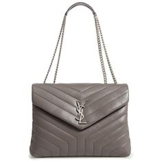 Women's Saint Laurent Medium Loulou Calfskin Leather Shoulder Bag ($1,990) ❤ liked on Polyvore featuring bags, handbags, shoulder bags, earth, yves saint laurent, yves saint laurent handbags, calfskin leather handbags, shoulder hand bags and calfskin handbag